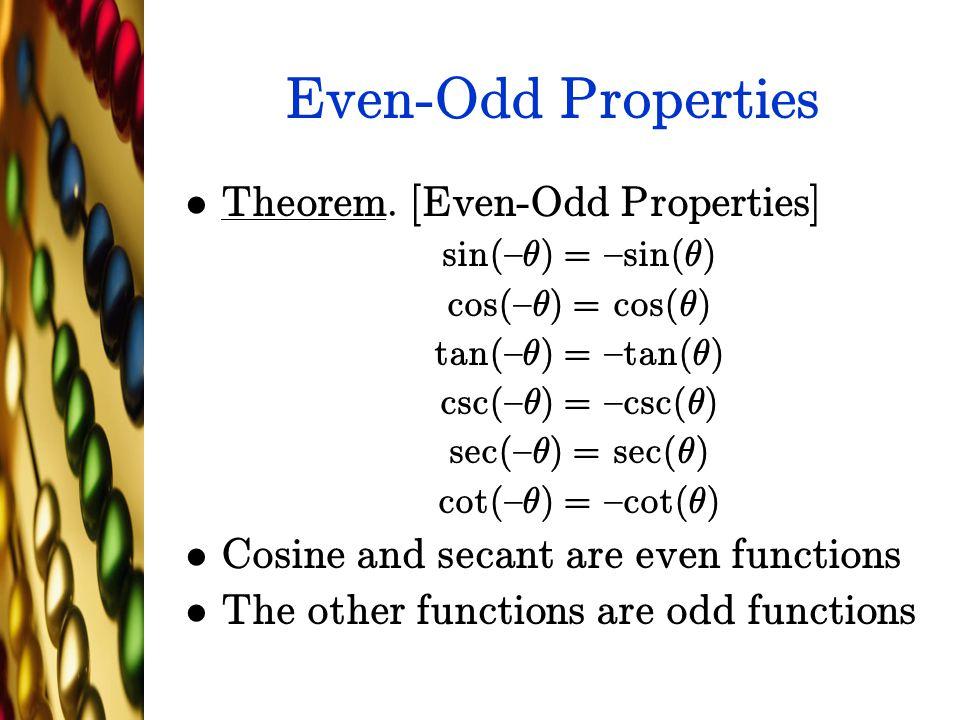 Even-Odd Properties Theorem. [Even-Odd Properties]